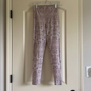 pale pink paisley super high waisted leggings